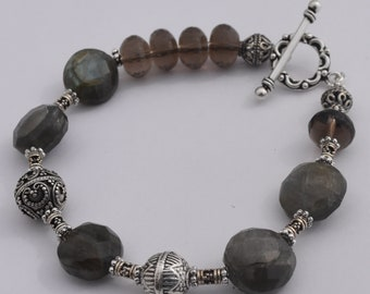 Labradorite and Smokey Topaz Bracelet, Bali Silver Beads, Statement Jewelry, Decorative Silver Toggle Clasp, 7.5""
