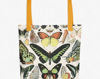Butterflies Vintage Print Tote Bag - Butterfly Art - Shopping Bag - Grocery Bag - Book Bag - Decorative Bag - Gift Idea - Gift Bag