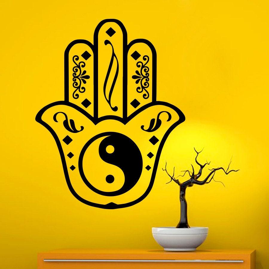 Fatima Hand Wall Decals Indian Pattern Hamsa Hand Yin Yang