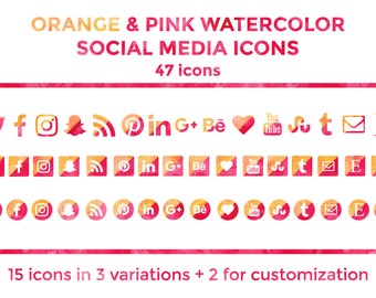 Orange Pink Watercolor Social Media Icons Buttons Website Icons Blog Icons Social Media Icons Graphics Twitter