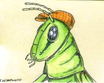 ACEO signed PRINT - Green Grasshopper  in a hat