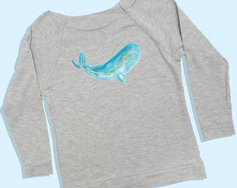 whale sweatshirt - whale tshirt - whale shirt - whale tee - whale long sleeve shirt - whale artwork - whale watercolor