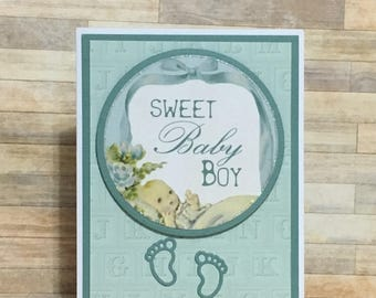 Handmade greeting card, baby shower, special occasion, green, baby boy