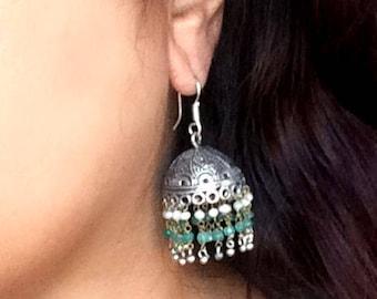 Silver Jhumkas Earrings,Fresh water pearl jewelry,Emerald green & white jhumkas,Indian silver Jewellery,handmade artisan