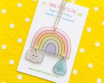 Kawaii April showers medium necklace in pastel - rainbow, cloud and raindrop