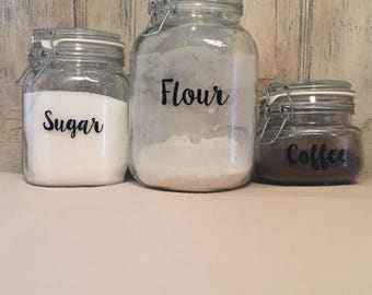 Kitchen Canisters/Canister Decals/Kitchen Canister Decal/Pantry  Decals/Kitchen Labels/