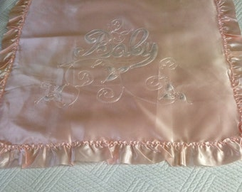 Pink satin baby bed topper