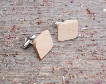 Wood Cufflinks, Rounded Square wood cufflinks, Wedding Cufflinks, 5th Wedding Anniversary Present, cufflinks for men, groomsmen, customized