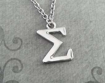Sigma Necklace SMALL Greek Letter Necklace Greek Alphabet Necklace College Jewelry Sorority Necklace Fraternity Jewelry Sigma Symbol Gift