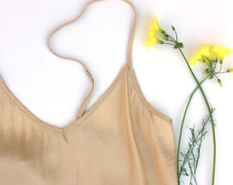 Eco-dyed Silk Camisole: Champagne—Pisolithus Mushroom, Small