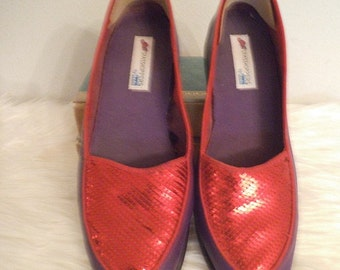 Vintage Purple and Red Sequin Keds Grasshoppers ~ Woman's size 8 M ~ Loafers