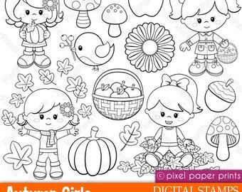 Autumn Girls - Digital stamps - Clipart - Fall - Line art