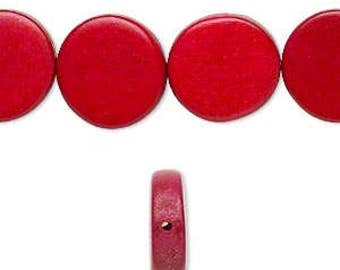26pcs 15mm Cranberry Red Flat Round Coin Wood Natural Beads Disc Macrame Bead