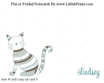 Blue Striped Cat Note Cards Set of 10 personalized flat or folded cards