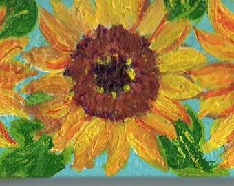 Sunflowers on canvas mini painting,  2 x 4, small canvas with easel, blue and yellow miniature painting, sunflowers art