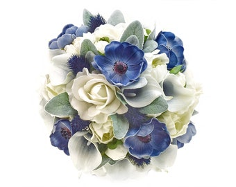 Stemple's Gatherings-Real Touch White Roses, Peonies, Navy Anemones,Navy Picasso Callas,Lamb's Leaf & Navy Thistle-In a vase or as a bouquet