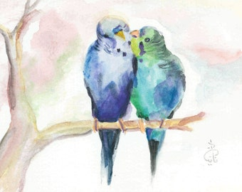 Love Birds Watercolor Wall Art Printable