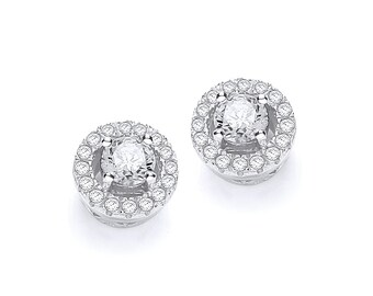 925 Sterling Silver Micro Pave Halo Brilliant Cz 8mm Round Stud Earrings