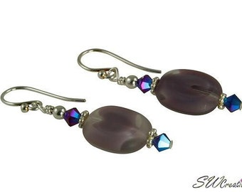 Iridescent Violet Purple Beaded Earrings