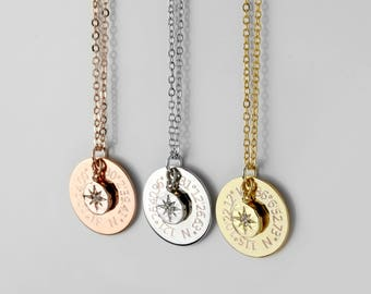 Inspirational Custom Coordinates Necklace College Graduation Gift High School Graduation Gift North Star Necklace Compass Necklace - LCN-DC