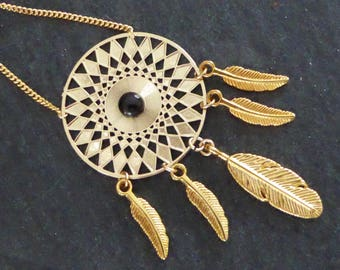 Long dream catcher gold feathers and cabochon Black Onyx, ethnic, Indian, gold