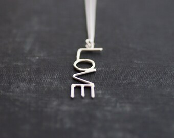 LOVE Necklace - Sterling Silver Chain and Pendant