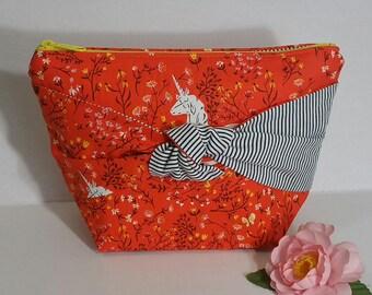Handmade makeup bag with knot front - unicorn