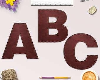 Lettres de cuir surpiqué, cousu en cuir Alphabet Clipart, cuir police, parfait pour Scrapbooking, Invitation et plus, BUY5FOR8