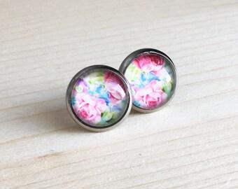 Clous d'oreilles à fleurs, Boucles d'oreilles fleurs rose, Boucles d'oreilles pour fille, Acier inoxydable, Boucles d'oreilles pour femmes
