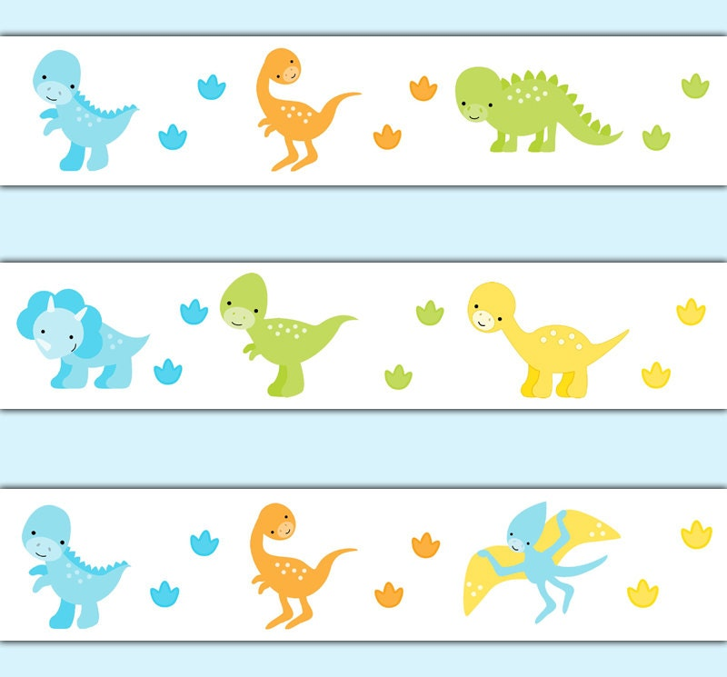 Dinosaur wallpaper border decal wall art baby dino nursery sticker decor kids prehistoric footprint tracks room boy girl childrens bedroom