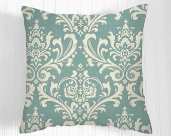 BLUE Pillow Cover.Decorator Pillow Cover.Home Decor.Large Print.DAMASK.Cushions. Cushion.Pillow.Spa Blue  Premier Prints