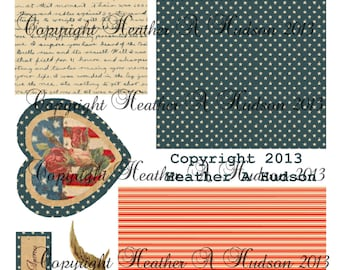 Vintage chic Victorian Roses Americana 4th Of July Card Digital Collage sheet