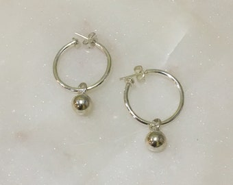 Sterling silver hoop with removable silver ball dangles