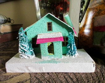 large vintage 50s 60s Christmas Putz House - cardboard, decoration,  made in Japan