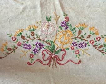 Vintage Floral Embroidered Table Decor, Dresser Scarf