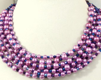 Purple Pearl and crystal necklace multistrand