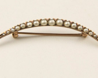 Vintage 10k Yellow Gold & Seed Pearls Crescent Moon Pin Brooch Art Deco