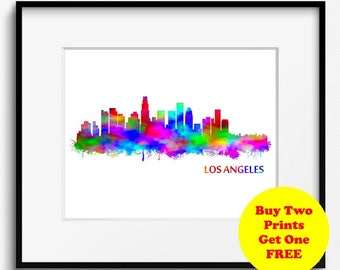 Los Angeles Skyline Watercolor Art Print (287) Cityscape, California, Abstract