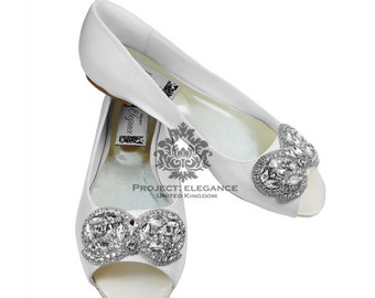 Wedding flat Peep toe Ivory/ white bridal Ballerina Flat Shoes Size US 4 5 6 7 8 9 10 11 12