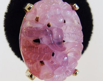 Vintage Signed Designer Richelieu Pink Molded Glass Earrings