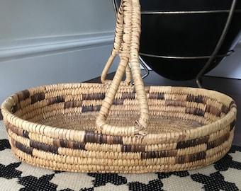 Vintage Mid Century / Hollywood Regency Tribal/ Native American Papago Basket With Handle