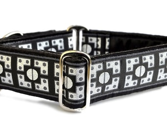 Martingale Dog Collar or Buckle Dog Collar - Custom Dog Collar - Wide Martingale Collar -  Riveted Jacquard in Black and Silver - 1.5 Inch