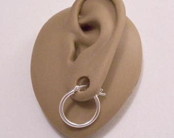 """925 Sterling Silver 3/4"""" Hoops Marked Pierced Post Stud Large Round Tube Vintage 20mm French Bar Lock Plain Open Polished Ring Dangles"""