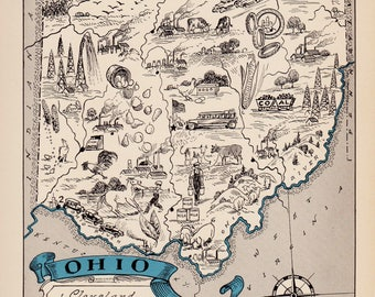 30's Vintage OHIO Picture Map Pictorial State Cartoon Map Print Gallery Wall Art Library Office Decor Gift for Traveler Wedding Birthday