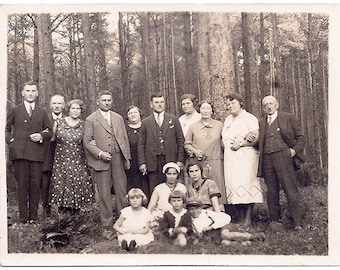 Vintage Photo - Family Gathering after the Harvest - 1922 Poland -Sepia Real Photograph Postcard rppc