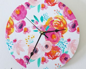 Fabric Clock ~ Decor Clock ~ Decoupage Clock ~ Floral Clock