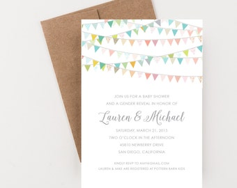 Colorful Bunting Baby Shower Invitation, Gender Reveal, Couples Shower