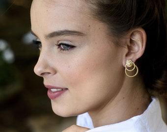 Ear Jacket, Ear Jacket Earring, Double Sided Earring, Gold Ear Jacket Earring, Silver Jacket Earring, Circle Ear Jacket, Lion Earring, Edgy