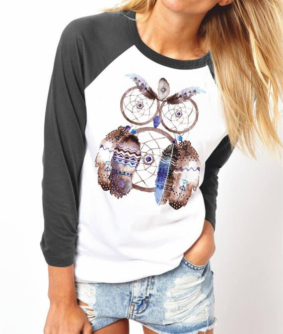 Owl Dreamcatcher | Unisex Raglan Shirt | 3/4 sleeves|Basketball shirt | Sacred feathers Tee|Shirt for her / him| Native Apparel | Watercolor