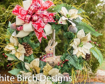 Christmas wreath, Christmas Wreath for Front Door, Christmas Wreath with Bow, Evergreen Wreath, Holiday Wreath, Wreath with Bow